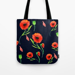 Red Poppies Field Tote Bag