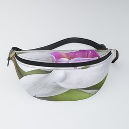 white Orchid flower  and green Bamboo still life Fanny Pack