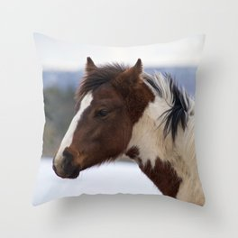 Tri-Colored Horse Throw Pillow