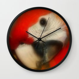 Red Scarlet Macaw Parrot Wall Clock