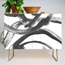 Interlock black and white paint swirls Credenza