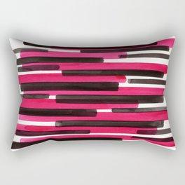 Magenta Primitive Stripes Mid Century Modern Minimalist Watercolor Gouache Painting Colorful Str Rectangular Pillow