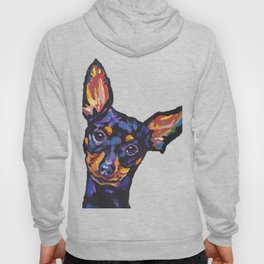 Miniature Pinscher Dog Portrait bright colorful Fun Pop Art Dog Painting by LEA Hoody