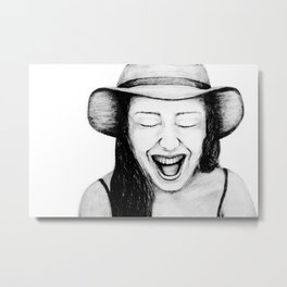 So Amused! Expressions of Happiness Series -Black and White Original Sketch Drawing, pencil/charcoal Metal Print