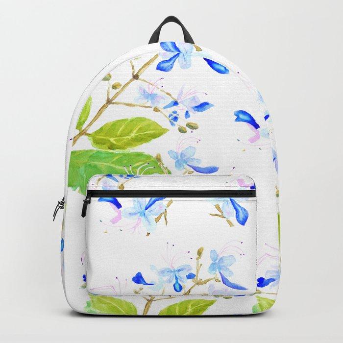 blue butterfly flowers watercolor Backpack