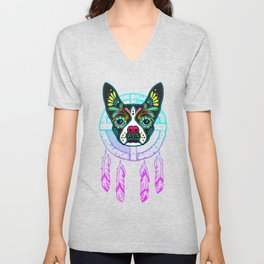 Boston Terrier Sugar Skull Dream Catcher Unisex V-Neck