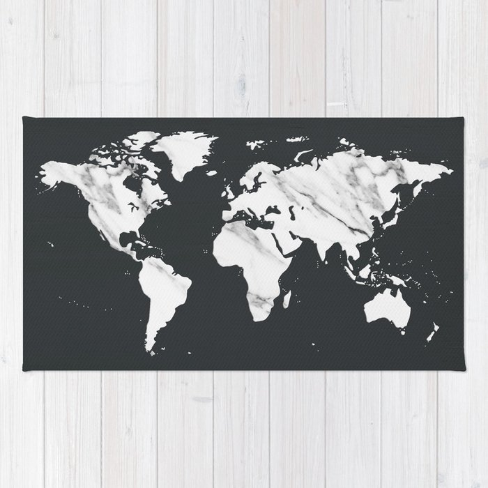 Marble world map in black and white rug by naturemagick society6 marble world map in black and white rug gumiabroncs Images