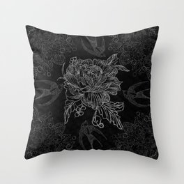Messy flower Throw Pillow