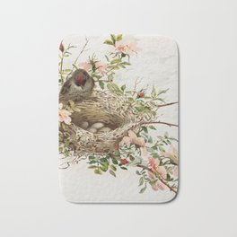 Vintage Bird with Eggs in Nest Bath Mat