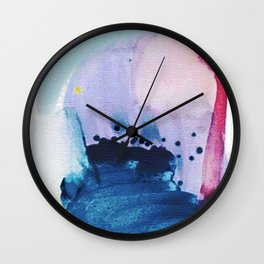 PYT: a minimal abstract mixed media piece on canvas in blues, pink, purple, and white Wall Clock