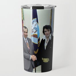 Richard M. Nixon and Elvis Presley at the White House, 1970. Travel Mug