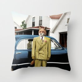Mr. Fox posing with his new car Throw Pillow