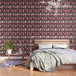 Seamless pattern spanish Woman flamenco dancer. Kawaii cute face with pink cheeks and winking eyes. Wallpaper