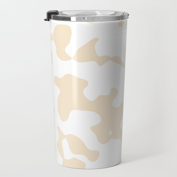 Large Spots - White and Champagne Orange Travel Mug
