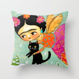 Winter Angel with Black Cat  by Tascha Throw Pillow
