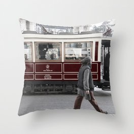 tram in İstanbul Throw Pillow