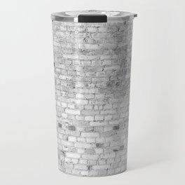 White Washed Brick Wall - Light White and Grey Wash Stone Brick Travel Mug