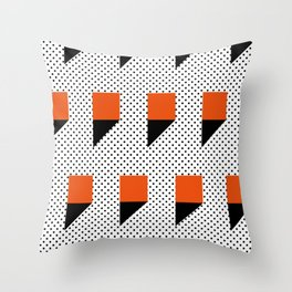 A lot of orange 3d Commas, planted in a carpet with black dots. Throw Pillow