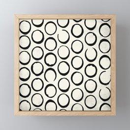 Polka Dots Circles Tribal Black and White Framed Mini Art Print