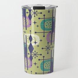 Retro Atomic Mid Century Pattern Blue Green Purple and Turquoise Travel Mug