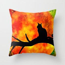 BLACK CAT HARVEST MOON 2018 Throw Pillow