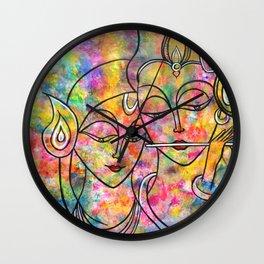 Radha Krishna Abstract colorful painting by Manjiri Kanvinde Wall Clock