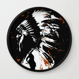 """Native American Indian """"Fearless in Flames"""" Wall Clock"""