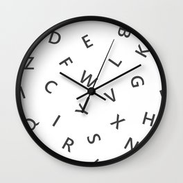 The Missing Letter Alphabet W&B Wall Clock