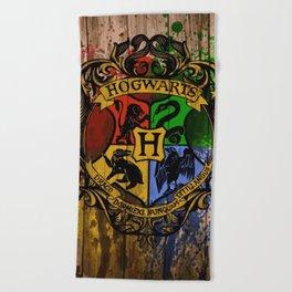 Hogwarts Gryffindor Hufflepuff slytherin ravenclaw Beach Towel