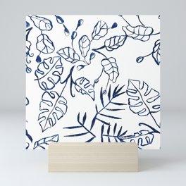 Tropical Plant Boho Chinoiserie Blue and White Mini Art Print