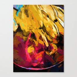 Banana Yellow Pink Splatter Tendril Canvas Print