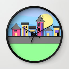 Pastel Daytime Houses Wall Clock