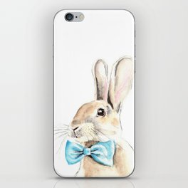 Bunny with a Blue Bow Tie. Watercolor Illustration. iPhone Skin