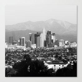 Los Angeles Downtown Skyline and Mountain Landscape - Square 1x1 Monochrome Canvas Print