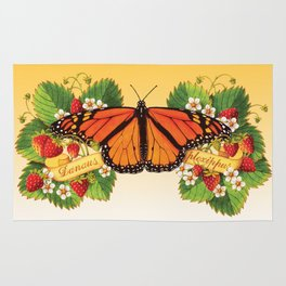 Monarch Butterfly with Strawberries Rug