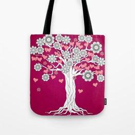 romantic tree on vinous Tote Bag