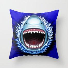 Shark Jaws Attack Throw Pillow