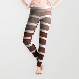 Watercolor Gouache Mid Century Modern Minimalist Colorful Raw Umber Stripes Leggings