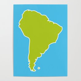 South America map blue ocean and green continent. Vector illustration Poster
