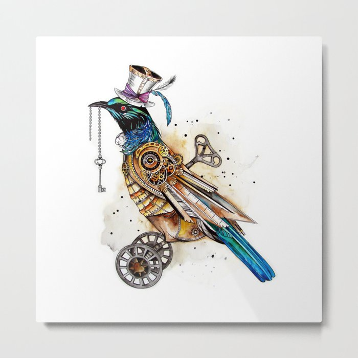 Steampunk Tui Bird  Metal Print