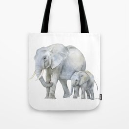 Mother and Baby Elephants Tote Bag