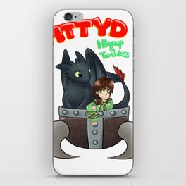 Hiccup and Toothless in a Helmet iPhone Skin