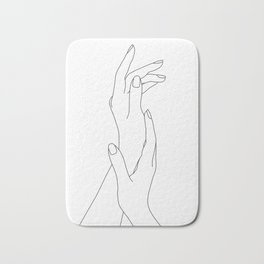 Hands line drawing illustration - Dia Bath Mat