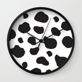 Animal Print (Cow Print), Cow Spots - White Black Wall Clock