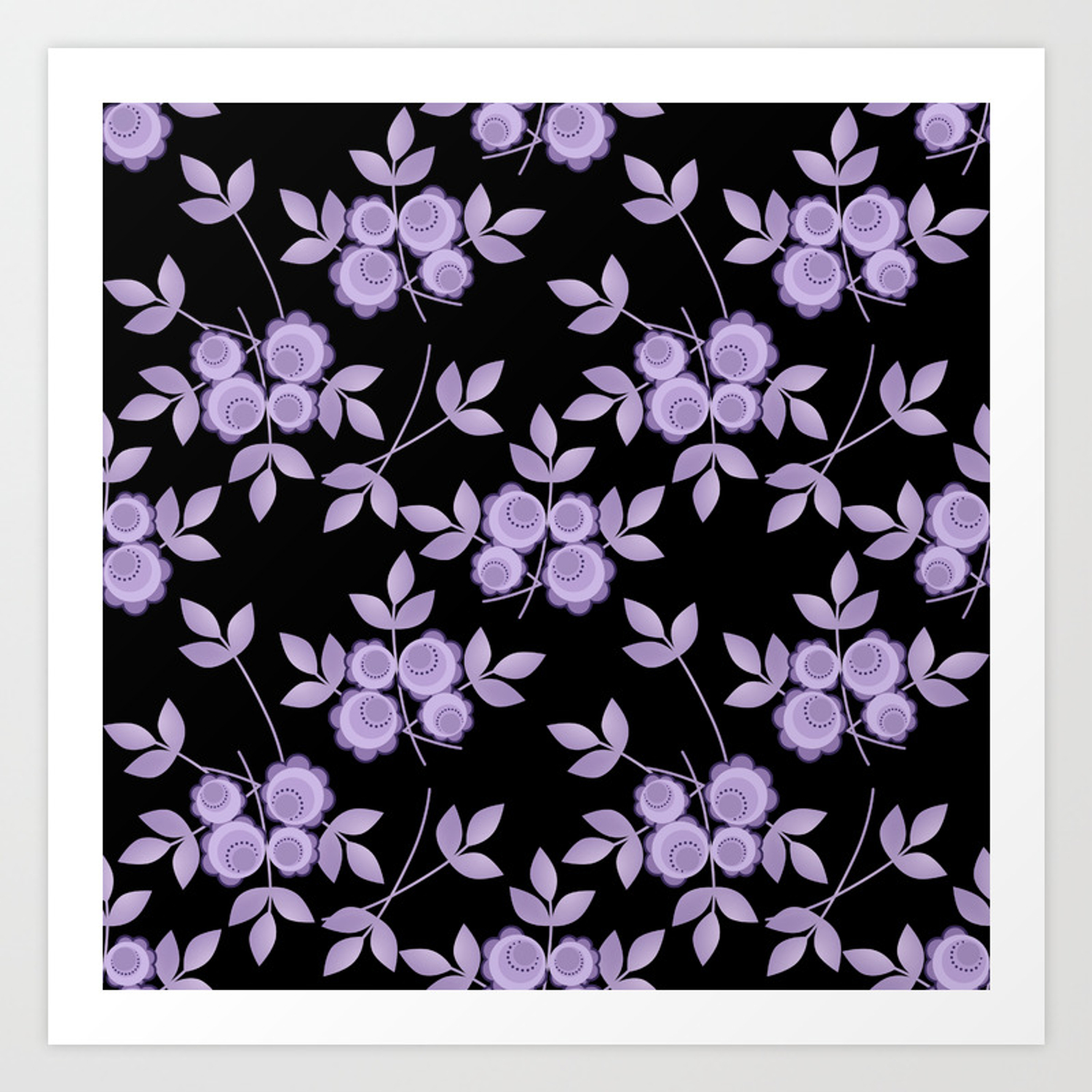 Retro Purple Flowers On A Black Background Art Print By