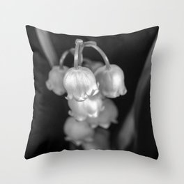 Black and white lily of the valley Throw Pillow