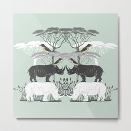 Rhino and friends do Lunch Metal Print