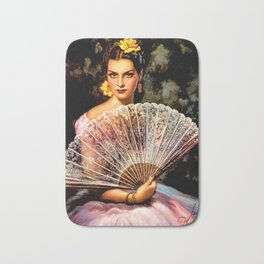 Jesus Helguera Painting of Spanish Beauty with Lacey Fan Bath Mat