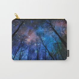 Black Trees Dark Blue Space Carry-All Pouch