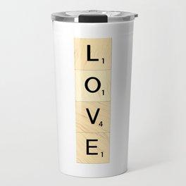 LOVE - Vertical Scrabble Letter Tiles Art Travel Mug